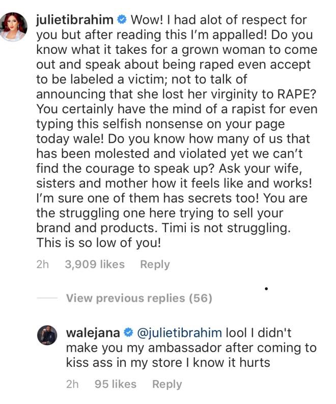 Juliet Ibrahim's comment on Adewale's post