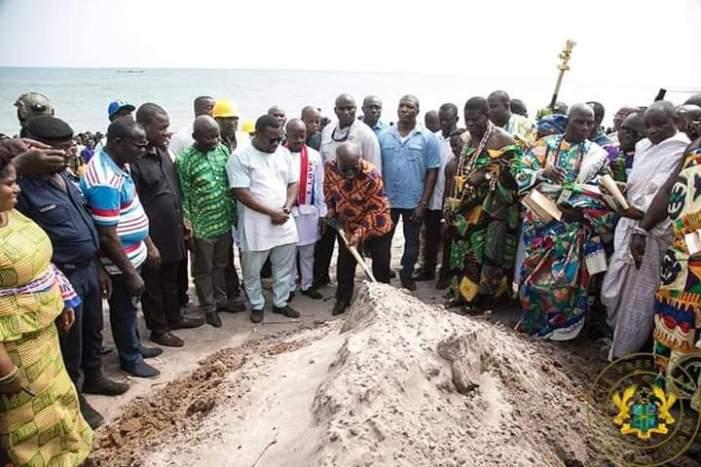 Akufo-Addo Cuts Sod For GHc 394m Ningo-Prampram Coastal Protection Project.