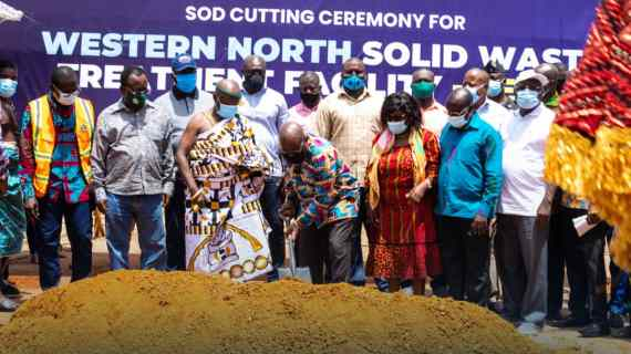 President Cuts Sod For Recycling Plant At Aboanidua