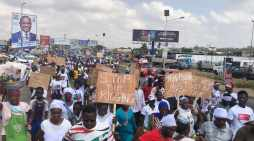 NDC supporters massing up at EC's head office; as party challenges results from Ashanti, Volta and others