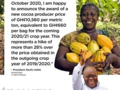 Akufo-Addo Increase Cocoa Producer Price By 28% to GH¢660 per bag