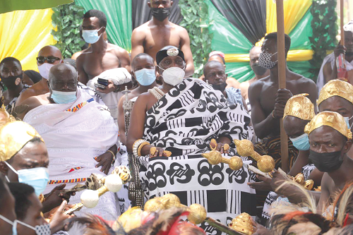 Nana Otuo Siriboe II, the Juabenhene, seated at the thanksgiving service. Pictures EMMANUEL BAAH