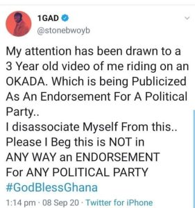 Stonebwoy Debunks Video Circulating On Social Media About Him Endorsing A Political Party On Okada Legalization