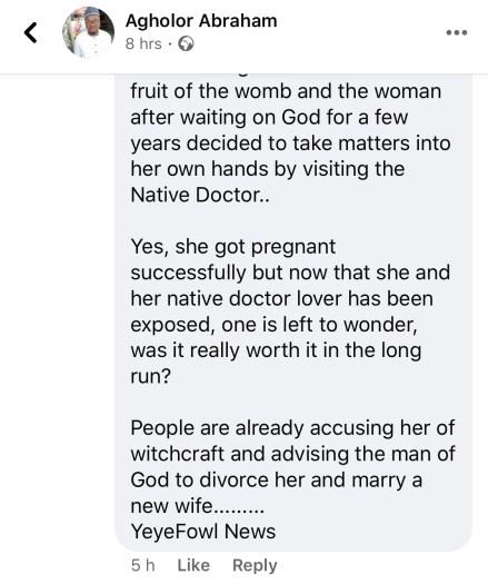 Juju Man Impregnates The Wife Of A Pastor