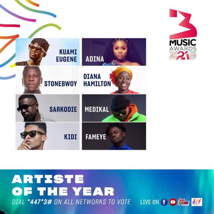 """Full List Of """" 3Music Awards"""" Nominees And Their Various Categories"""