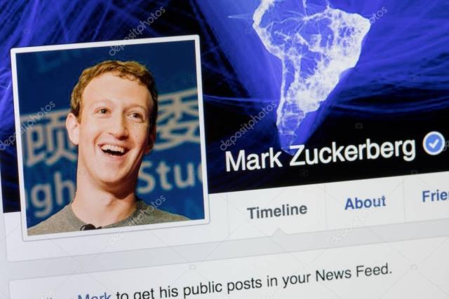 RIGA, LATVIA - February 24, 2017: Facebook profile of Co-founder and CEO of Facebook Mark Zukenberg.