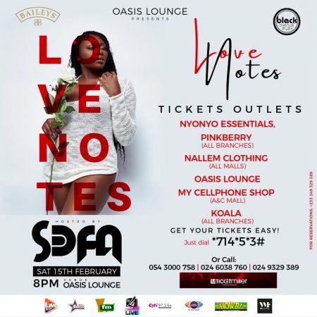 Sefa Hosts Valentine's Love Notes Concert With Bisa Kdei, Akwaboah, Mz Vee, Sista Afia & More 15th February At Oasis Lounge
