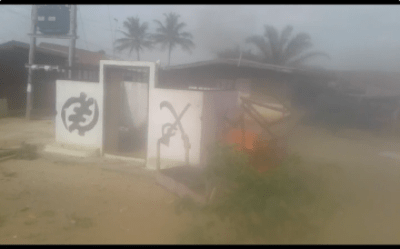 Otumfuo's shrine set on fire as Kumasi youth clash; police, soldiers fire rifles (PHOTOS)