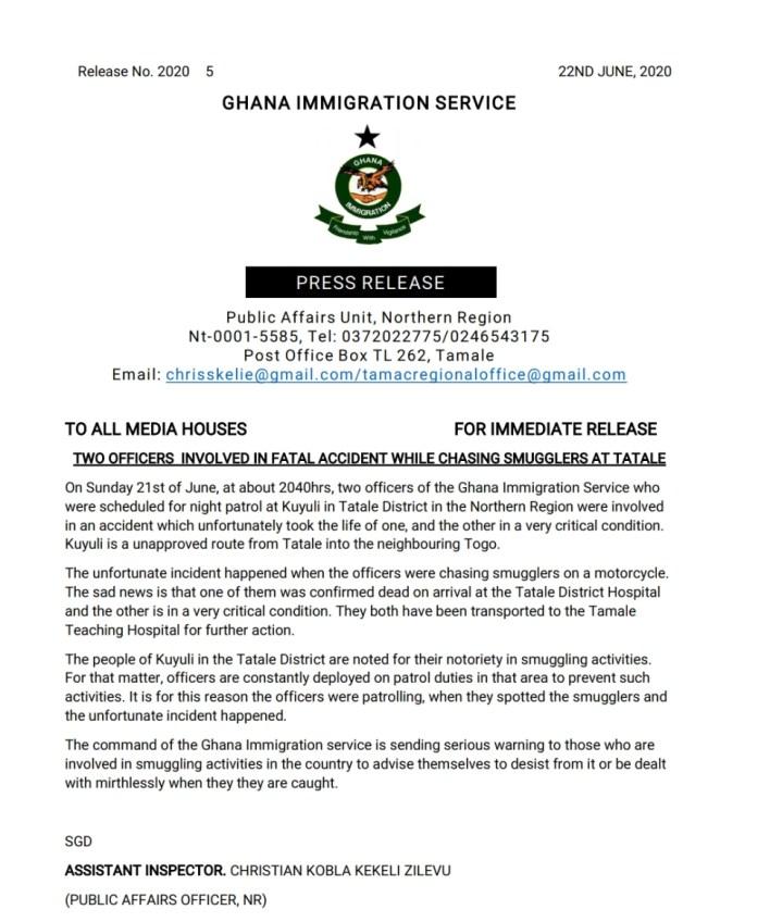 Immigration officer killed in Car crash while chasing smuggler at Tatale