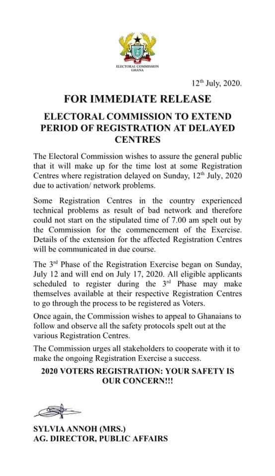 ELECTORAL COMMISSION TO EXTEND PERIOD OF REGISTRATION AT DELAYED CENTRES