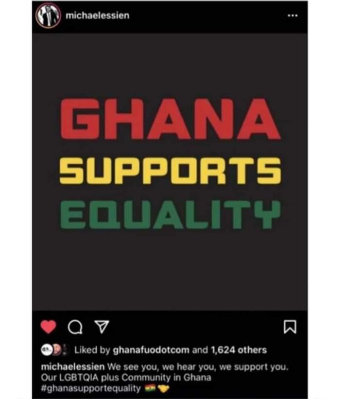Michael Essien under fire over LGBTQI+ post.