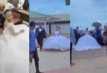 Final Student Goes To Exams Hall In Her Wedding Gown Along With Her Groom To Write Her Final Paper (Video)