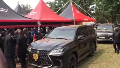 See how prez. Akufo-Addo arrives at Sir John's funeral (Watch video)