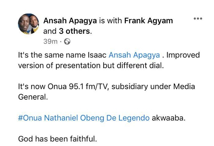 Ansah Apagya leaves ABN to join Captain Smart at Onua FM/TV