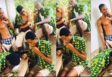 """Photo of Mankessim SHS Students smΦk!ng """"wee"""" on campus surfaces online"""
