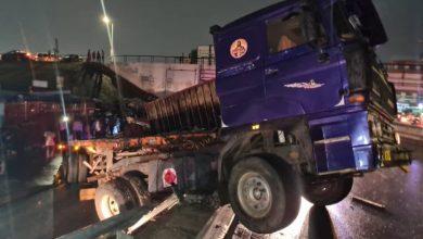 Cargo truck skids off flyover at Kwame Nkrumah Interchange