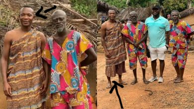 Ex-Black Stars player John Paintsil ventures into acting; pictured on set with Lil Win, others