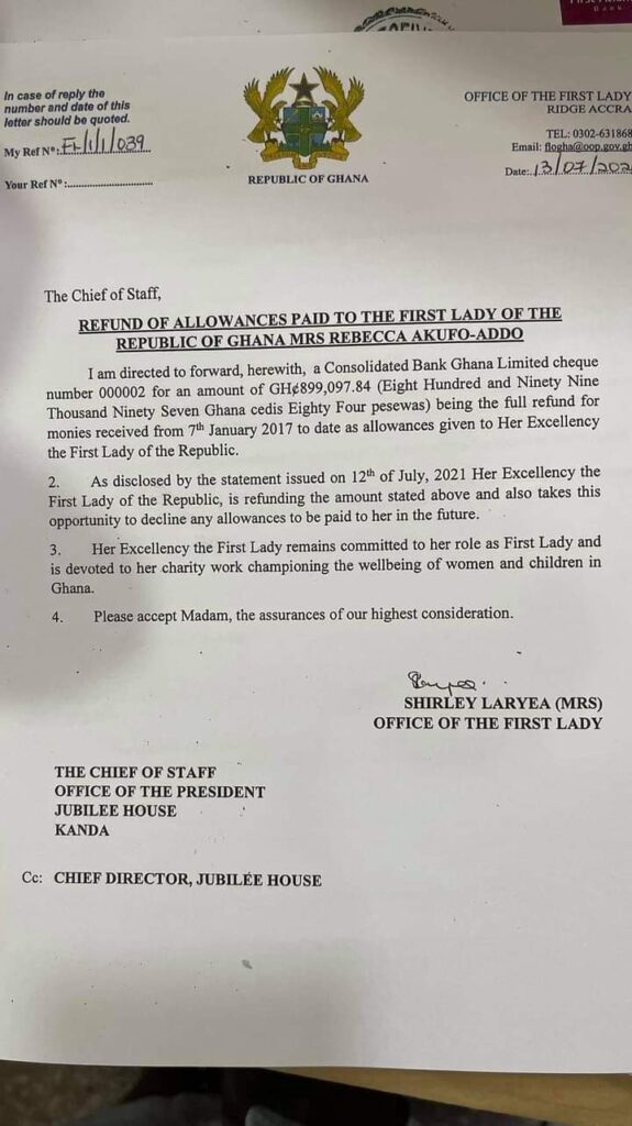 BREAKING: First Lady Pays Back All Allowance Received Into Consolidated Bank Account (Receipt)BREAKING: First Lady Pays Back All Allowance Received Into Consolidated Bank Account (Receipt)