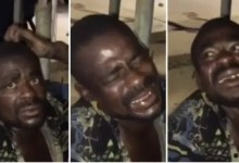 Thief forced to laugh while being beating for stealing light cables [Video]