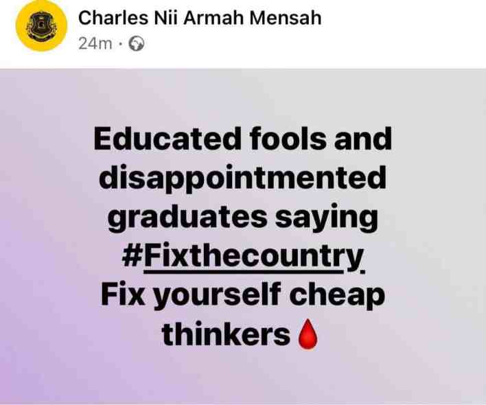 Shatta Wale's comment on Fix The Country