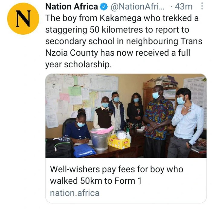 Good news hit boy who walks 50km to school as he gets full year scholarship