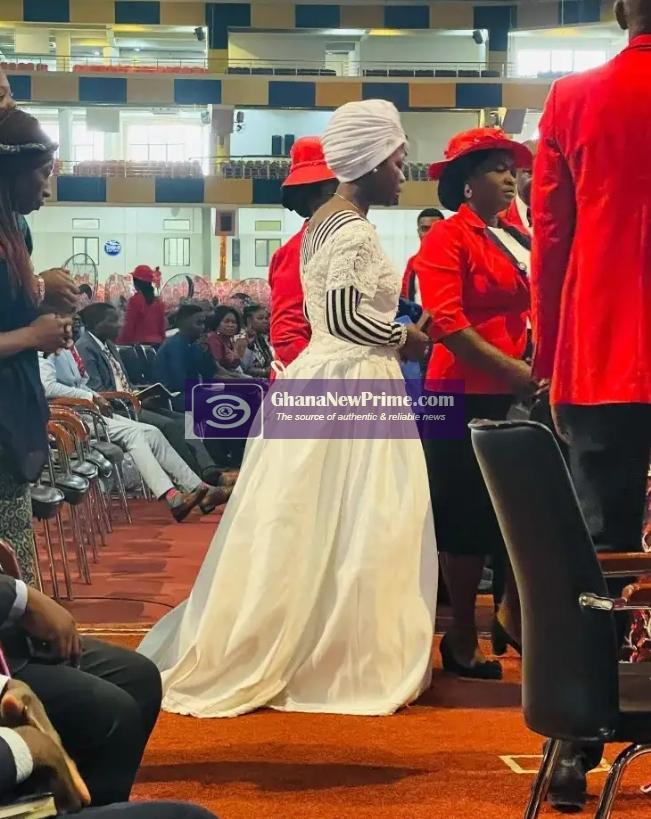 Woman storms church in wedding gown to seek for marital breakthrough [Photo]