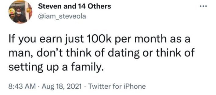 Don't think of dating or marriage as a man, if you earn 100k per month as a man - Man warns