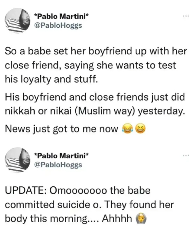 Lady allegedly commits suicide after her boyfriend got married the friend she used to test his loyalty