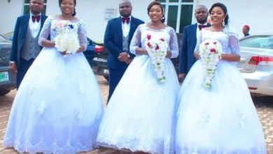 Photo of Triplets who held joint wedding welcome babies same day – See Photos