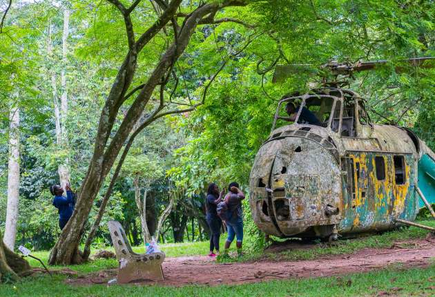 Abandoned Helicopter in Aburi Botanical Gardens