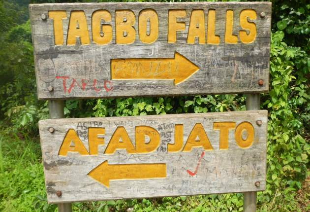 Sign post shows the way to Tagbo Falls and Mount Afadjato. Image / Farmgirlinghana