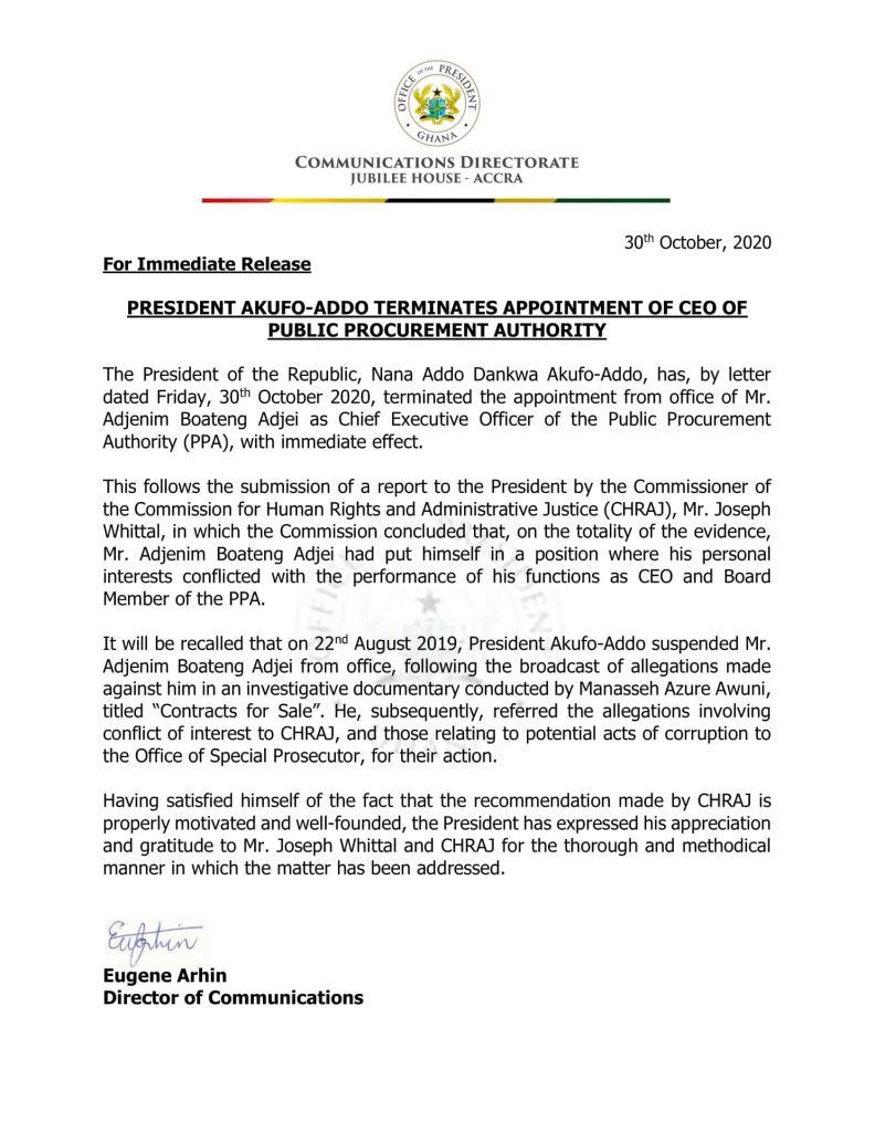 President Nana Addo sacks Public Procurement Authority Boss