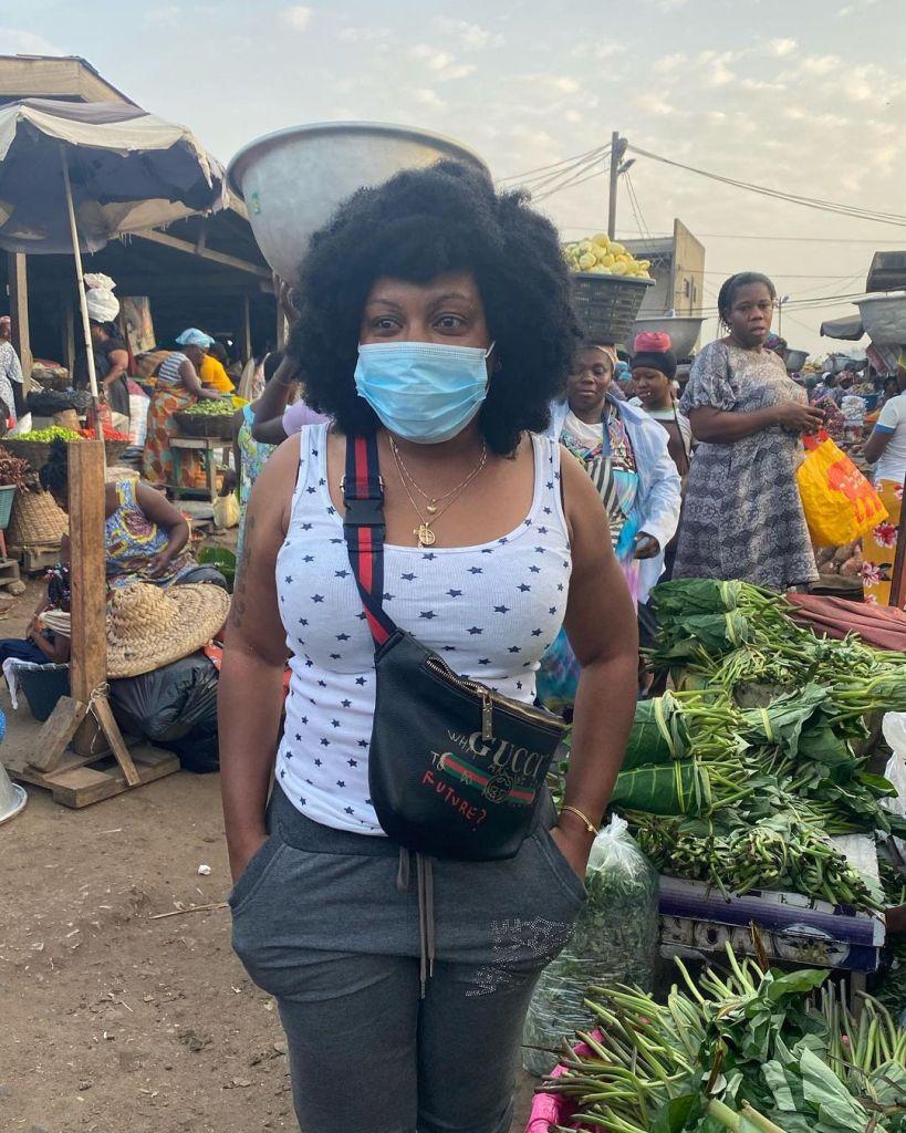 Afia Schwarzenegger shops at Agbogbloshie Market