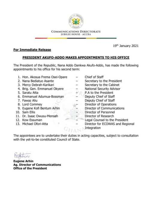 First 13 appointees
