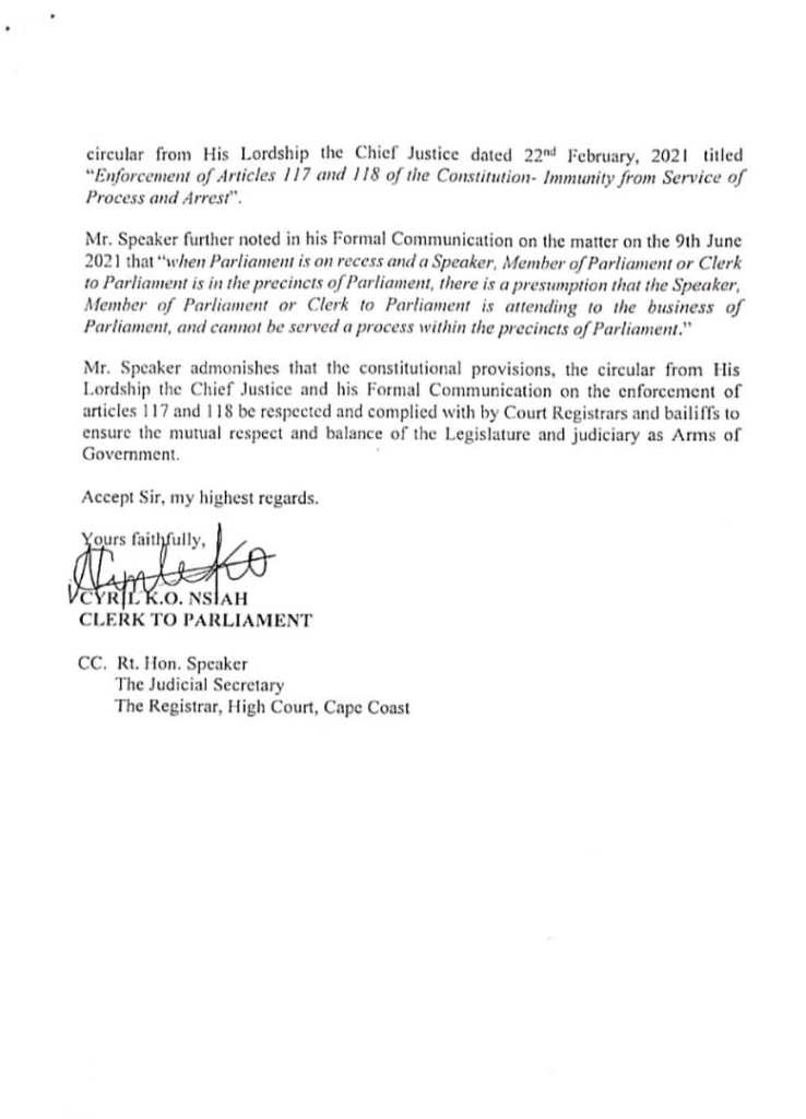 Speakers letter, Assin North
