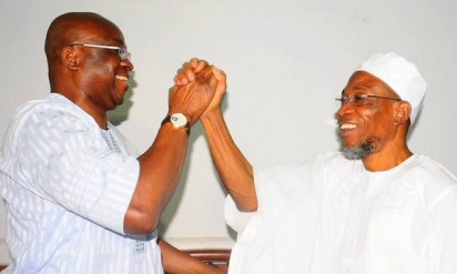 HISTORIC VISIT: Ekiti State Governor, Ayodele Fayose, when he visited Governor Rauf Aregbesola of Osun State, in Oshogbo, the Osun State capital on Tuesday, January 26, 2015
