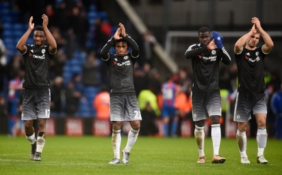 Chelsea's Obi Mikel, Willian, Zouma and Ivanovic applaud fans at the end of the match. Photograph: Dylan Martinez/Reuters