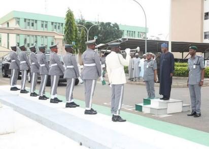 Customs CG, Hameed Ali inspecting Guard of Honour at Customs Headquarter