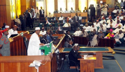 PIC. 6. PRESIDENT MUHAMMADU BUHARI, ADDRESSING A JOINT SESSION OF THE NATIONAL ASSEMBLY AT THE PRESENTION OF THE 2016 APPROPRIATION BILL IN ABUJA ON TUESDAY (22/12/15). 7805/22/12/2015/JAU/BJO/NAN