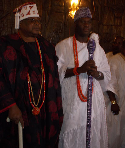 Oba Sikiru Kayode Adetona Awujale of Ijebuland and Oba Adeyeye Enitan Ogunwusi, Ooni of Ife during the visit in Ijebu-Ode. PHOTO BY WUNMI AKINOLA