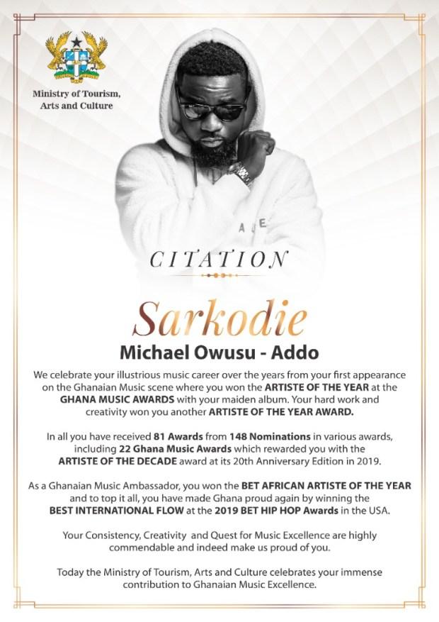 Sarkodie Made An Ambassador For Year Of Return