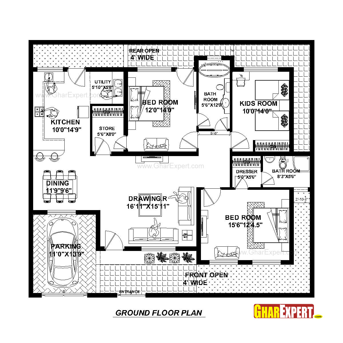 50*50 House Plan For 50 Feet By 45 Feet Plot (plot Size 250 Square Yards) - Gharexpert.com
