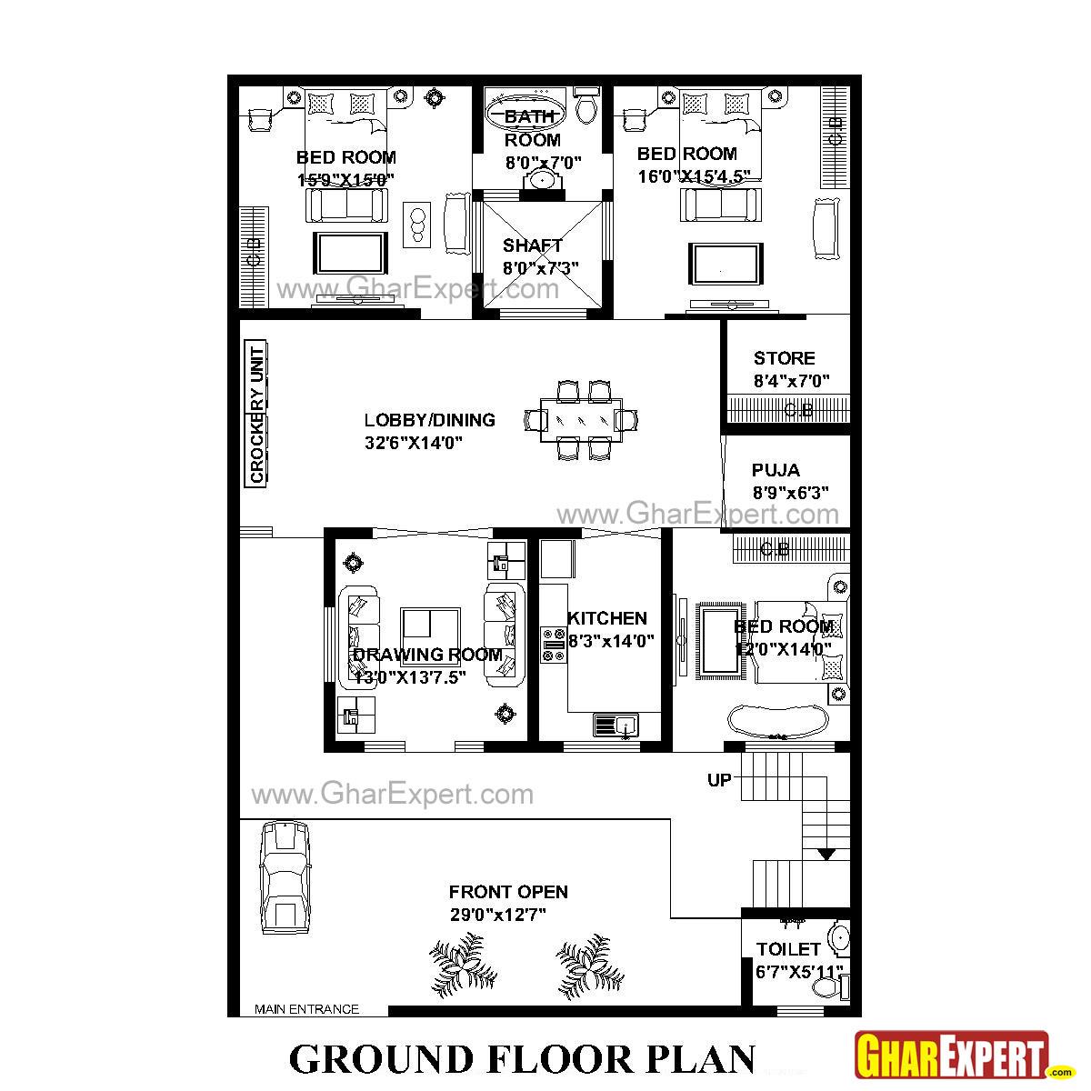 House Plan for 43 Feet by 64 Feet plot (Plot Size 306