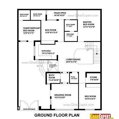 House Plan for 48 Feet by 58 Feet plot (Plot Size 309