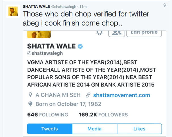 Shatta Wale gets verified on Twitter