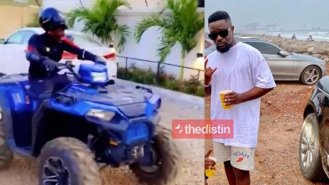 Watch Video: Shatta Wale Infront Of Sarkodie's House Shows Off His Ruff Riding Skills With His New Monster Bike After They Made Peace