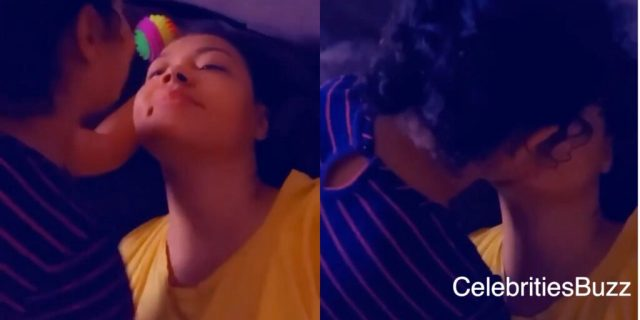 Beautiful scene of Nadia Buari receiving kisses from her daughter
