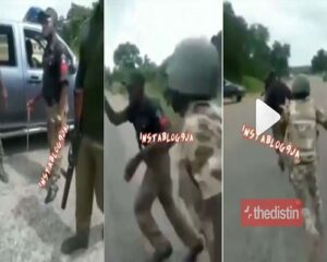 WATCH VIDEO: Soldiers Beat Up Policemen Extorting People In Nigerian Amid EndSars Protest