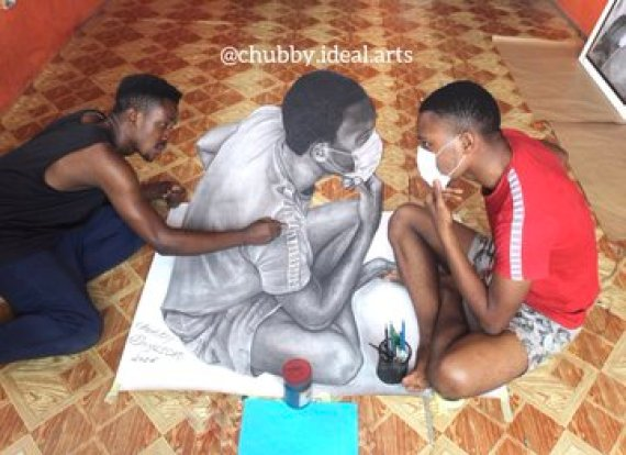 Young artist draws picture which appears like living human being