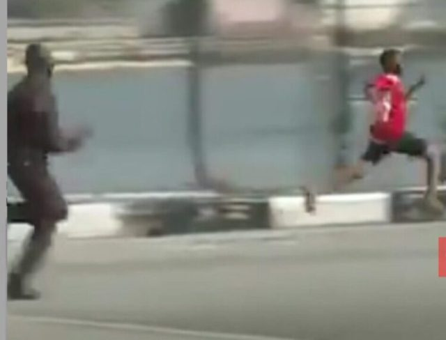 Funny But Sad Video Of A Protester Runs For His Life As Police Chase To Arrest Him
